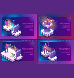 isometric set gaming experience in virtual reality vector image