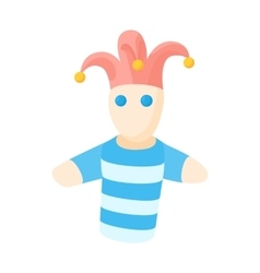 Jester doll icon in cartoon style vector