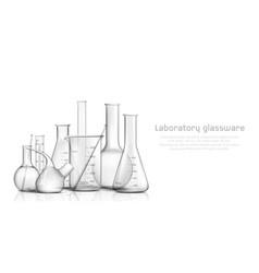 Laboratory glassware 3d realistic banner vector