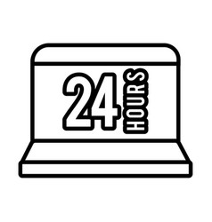 Laptop with 24 hours line style icon vector