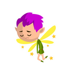 Little winged sad elf boy with purple hair cute vector