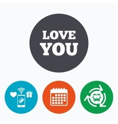 Love you sign icon Valentines day symbol vector image