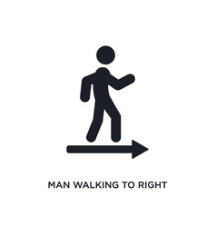 Man walking to right isolated icon simple element vector