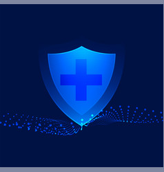 Medical protection shield with cross sign vector