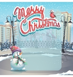 Merry Christmas with a snowman vector image