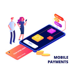 Mobile payments smartphone banking app data vector
