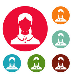 new female avatar icons circle set vector image