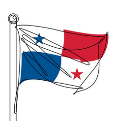 panama national flag one continuous line abstract vector image