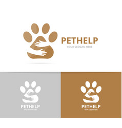Paw and hands logo combination pet and vector