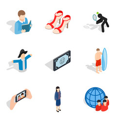 People avatar icons set isometric style vector