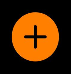 Positive symbol plus sign orange icon on black vector
