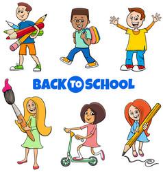 pupils children back to school cartoon vector image
