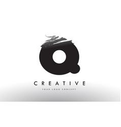 Q brushed letter logo black brush letters design vector