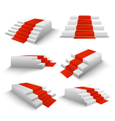 Red carpet stairs 3d set vector