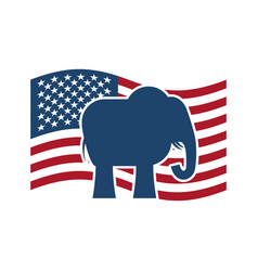 Republican elephant and us flag political party vector
