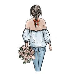 romantic woman hand drawn beautiful vector image