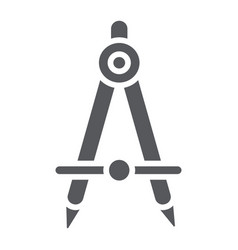 School compass glyph icon architect and drafting vector