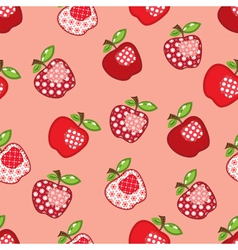 Seamless pattern with patchwork apples vector
