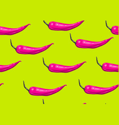 Seamless pattern with pink chilli decorative vector