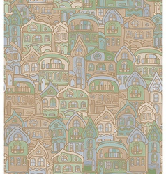 Seamless pattern with stylized citys old houses vector image