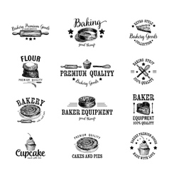 set of bakery logos labels badges and vector image
