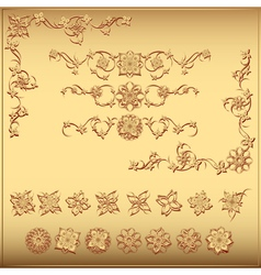 Set of gold floral vintage design elements vector image
