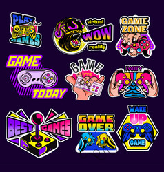 set psychedelic game logos with text vector image