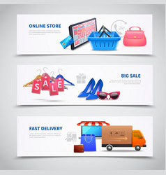 shopping realistic banners set vector image