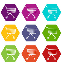 Small trolley icons set 9 vector