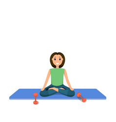Smiling child sits lotus position involved sport vector