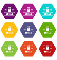 social protest shield icons set 9 vector image