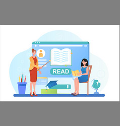 student learning online concept vector image