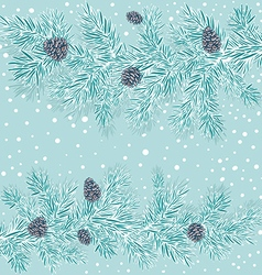 stylized branches of spruce with cones vector image