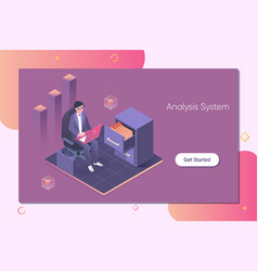 system analysisbusinessman interact with data vector image