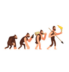 Theory of human evolution man development stages vector