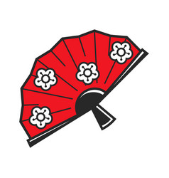 traditional japanese fan with flower pattern vector image