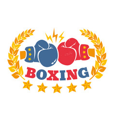 Vintage logo for a boxing with gloves vector