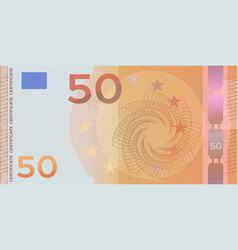 Voucher template banknote 50 euro with guilloche vector