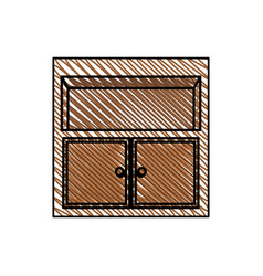 Wooden furniture ornament office vector