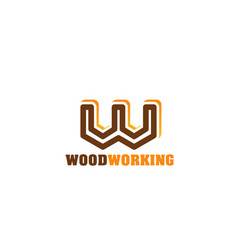 Woodworking emblem for carpentry and woodwork shop vector