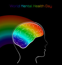 world mental health day silhouette of the head of vector image