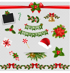 xmas big collection transparent background vector image