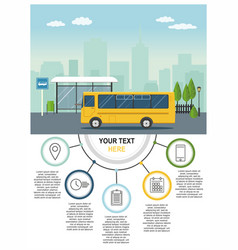 yellow bus at the bus stop on background of city vector image
