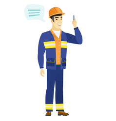 Young asian builder with speech bubble vector