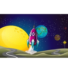 A spaceship in the outerspace near the moon vector image