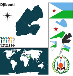 Djibouti map world vector image