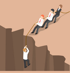 isometric business team help partner climb up vector image vector image