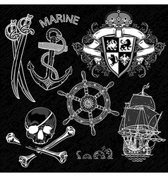 Marine design elements vector image vector image