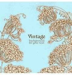 Wild flowers - umbrellas blue vintage background vector image vector image