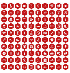 100 sneakers icons hexagon red vector image